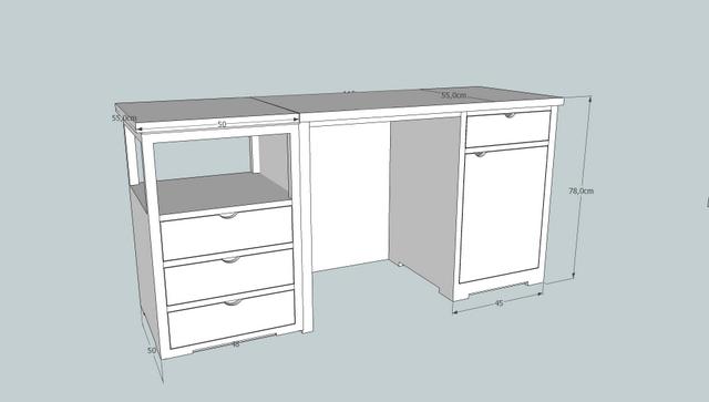 Escritorio en dos piezas blanco roto muebles artesa for Medidas estandar de escritorios de oficina