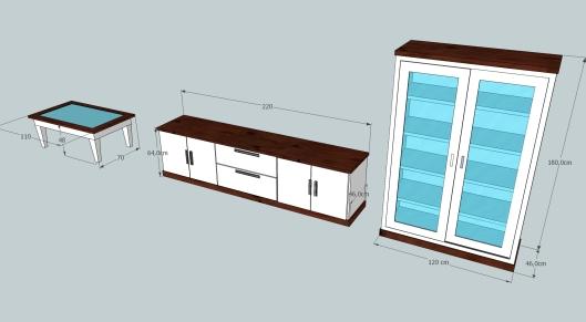 mueble tv + vitrina + mesa centro benito medidas