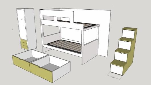 cama nido  armario, escalera, escritorio (1)