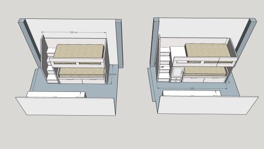 Dibujos previos habitaci n cama doble con armario for Cama nido con cajones y escritorio