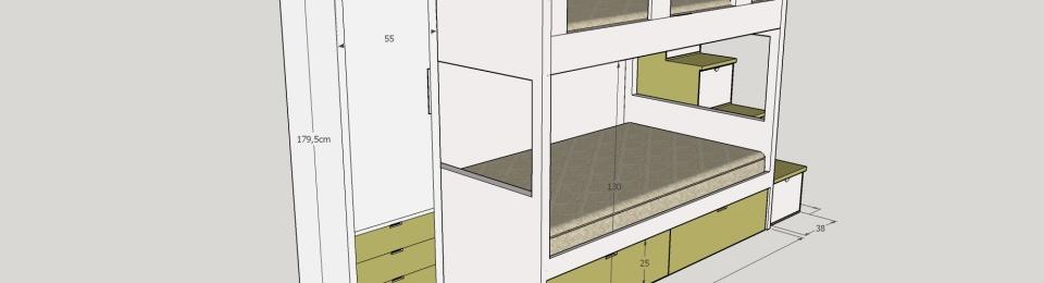 Dibujos previos habitaci n cama doble con armario for Cama doble con cajones